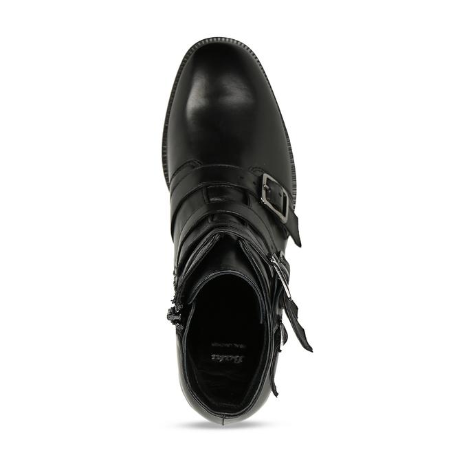 Kožená kotníková obuv s výraznými aplikacemi bata, černá, 594-6733 - 17