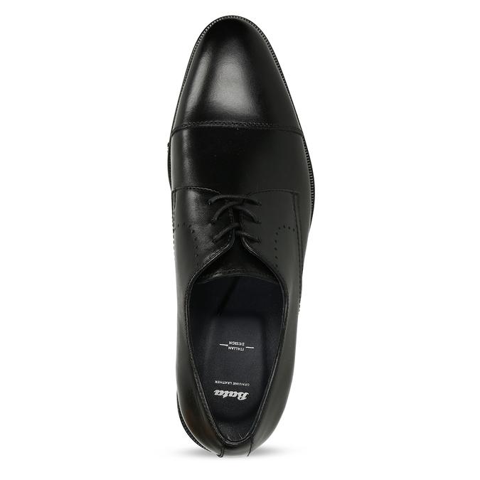 Společenské pánské kožené polobotky s perforací bata, černá, 824-6735 - 17