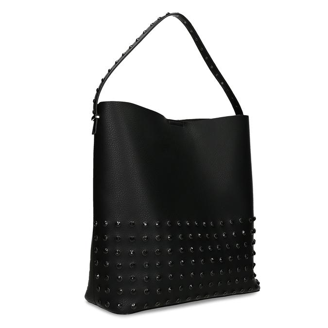 Čtvercová dámská kabelka s kováním bata, černá, 961-6308 - 13
