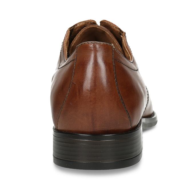 Hnědé kožené derby polobotky s prošitím na špici bata, hnědá, 826-3700 - 15