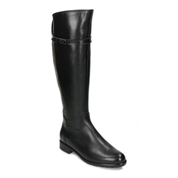 Černé kožené kozačky ve vojenském stylu bata, černá, 594-6702 - 13