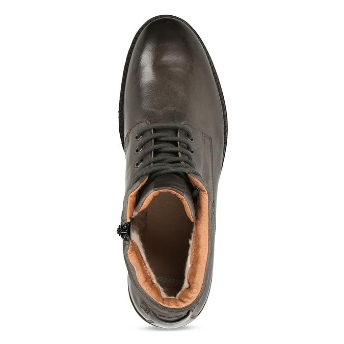 Pánská zimní kotníková obuv v tmavě hnědé kůži bata, šedá, 896-2615 - 17