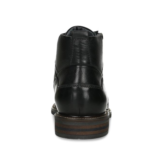 Pánská kotníková obuv v černé kůži a zipy na stranách bata, černá, 894-6610 - 15