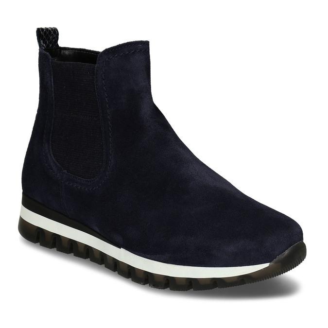 Tmavě modrá kožená dámská kotníková obuv gabor, modrá, 593-9103 - 13