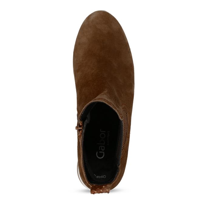 Hnědá dámská kožená kotníková obuv gabor, hnědá, 593-3103 - 17
