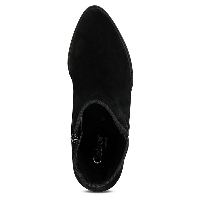 Černá kožená kotníková dámská bota s textilním lemem gabor, černá, 696-6101 - 17