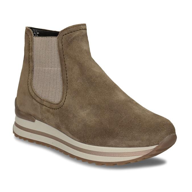 Béžová dámská kožená kotníková obuv s vyšší podešví gabor, béžová, 593-3104 - 13