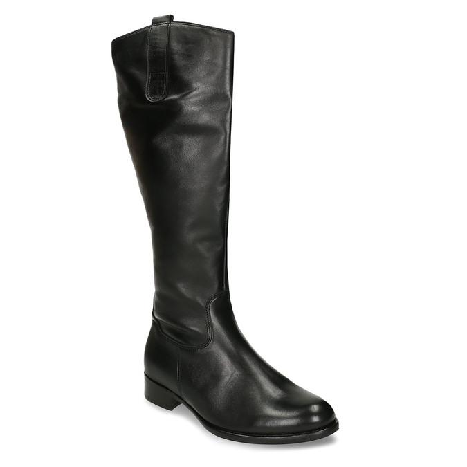 Černé dámské kozačky kožené gabor, černá, 594-6371 - 13