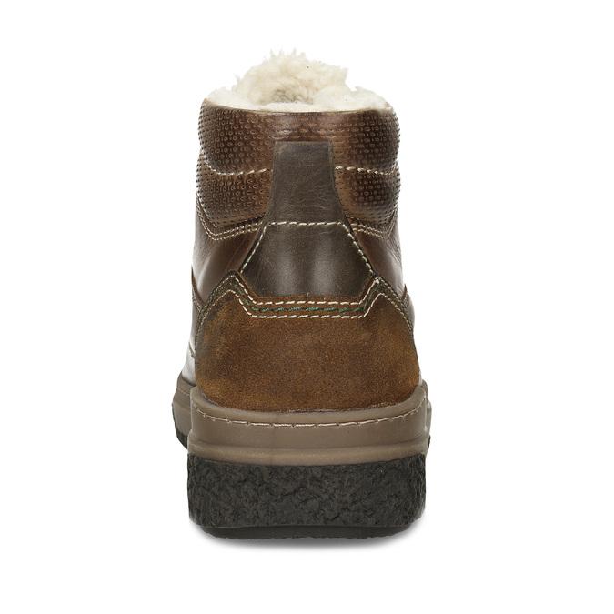 Hnědá pánská kožená obuv s teplým kožíškem bata, khaki, 896-3608 - 15