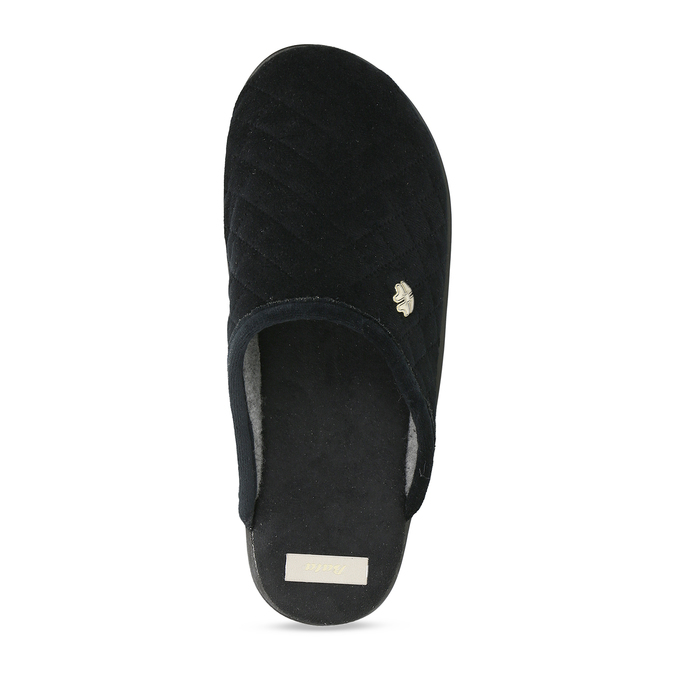 Černé prošívané dámské pantofle s ozdobou bata, černá, 579-6618 - 17
