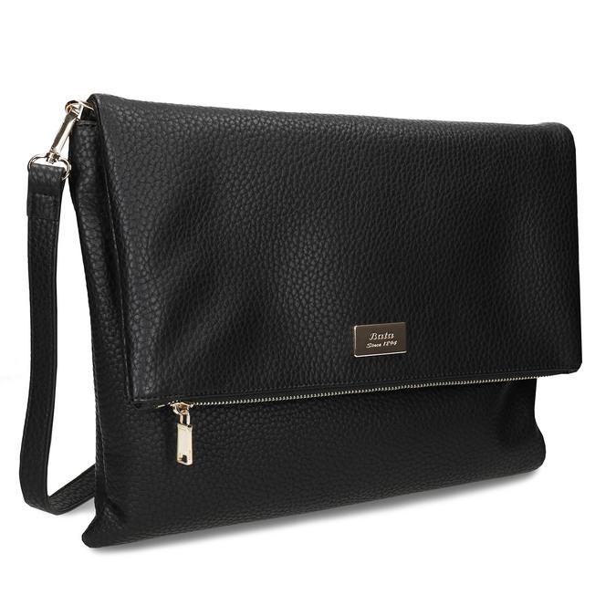 Dámská koženková kabelka s klopu na zip bata, černá, 961-6602 - 13