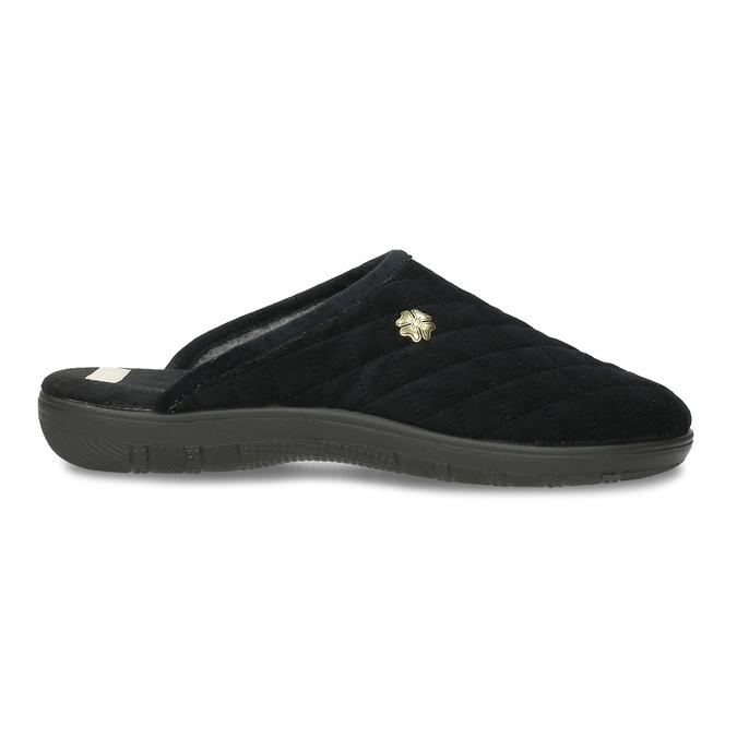 Černé prošívané dámské pantofle s ozdobou bata, černá, 579-6618 - 19