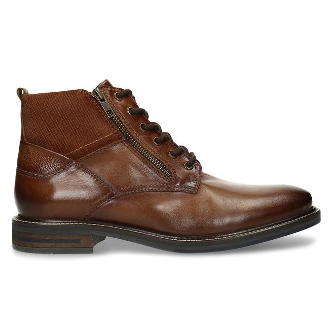 Hnědá kožená pánská obuv s prošíváním a dvěma zipy bata, hnědá, 896-3610 - 19