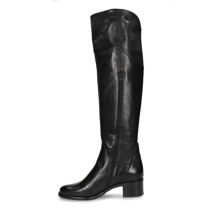Vysoké černé dámské kožené kozačky nad koleno bata, černá, 694-6657 - 17