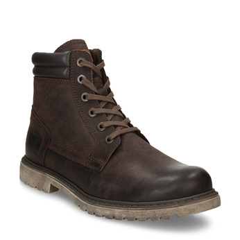 Tmavěhnědá pánská kožená kotníková obuv weinbrenner, hnědá, 896-4604 - 13