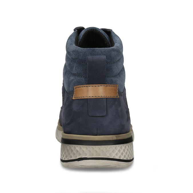 Pánská kotníková obuv v modré kůži se šněrováním weinbrenner, modrá, 846-9621 - 15