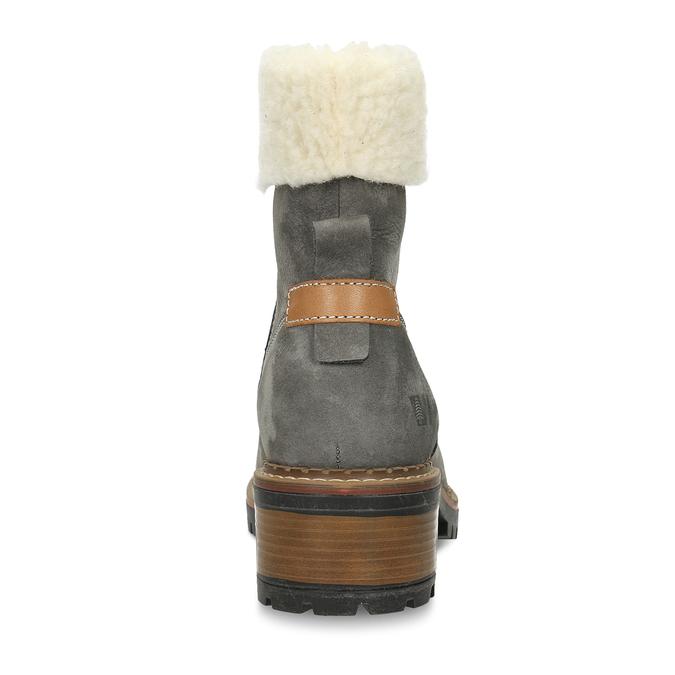 Zimní dámské kožené boty s kožíškem weinbrenner, šedá, 596-2603 - 15