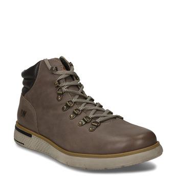 Béžová pánská kožená kotníková zimní obuv weinbrenner, hnědá, 896-8649 - 13