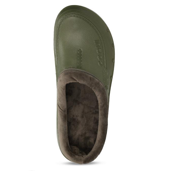 Khaki pánské pantofle se zateplením coqui, zelená, 872-7711 - 17