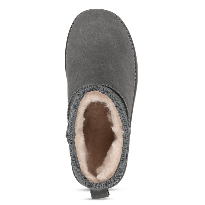 Šedé kožené zimní kotníkové boty s kožíškem coqui, šedá, 593-2611 - 17