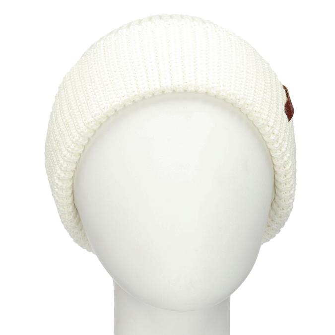 Béžová pletená čepice s ohrnutým okrajem bata, bílá, 909-1690 - 16