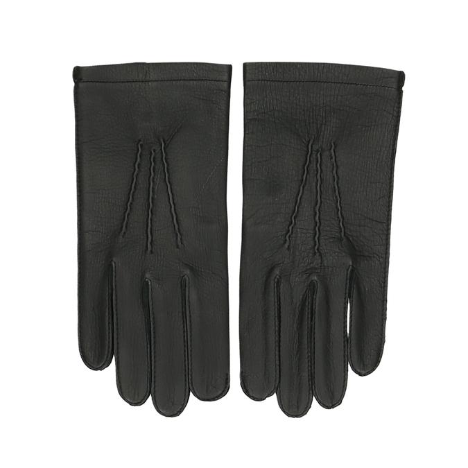 Černé dámské kožené rukavice s prošitým okrajem junek, černá, 944-6118 - 26