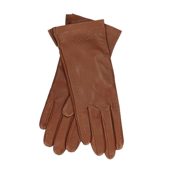 Hnědé dámské kožené rukavice s prošitím junek, hnědá, 944-3212 - 13