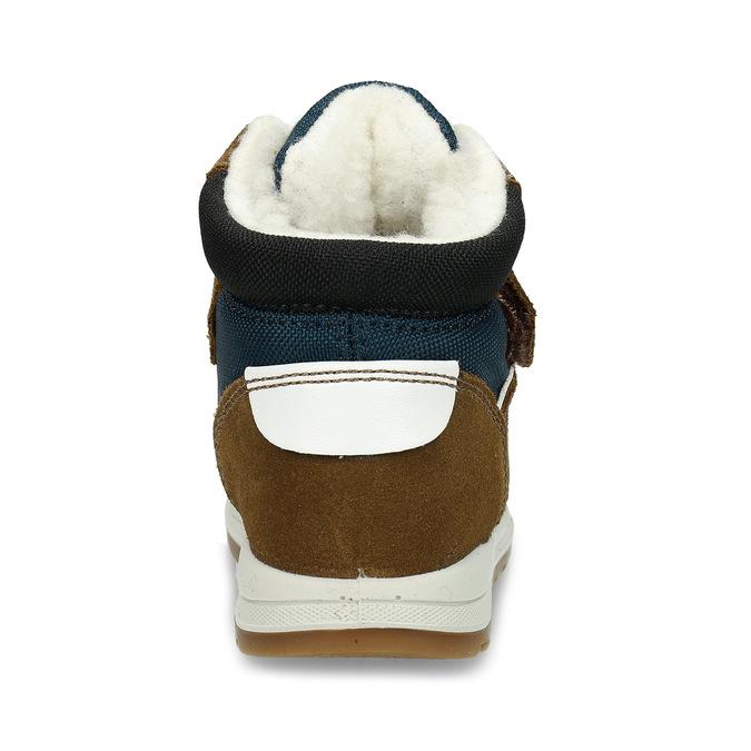 Zimní dětská hnědá kožená obuv  s beránkem primigi, hnědá, 113-4625 - 15