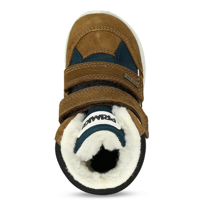 Zimní dětská hnědá kožená obuv  s beránkem primigi, hnědá, 113-4625 - 17