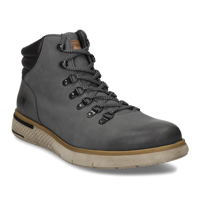 Šedá pánská kožená kotníková obuv na zimu weinbrenner, šedá, 896-2649 - 13