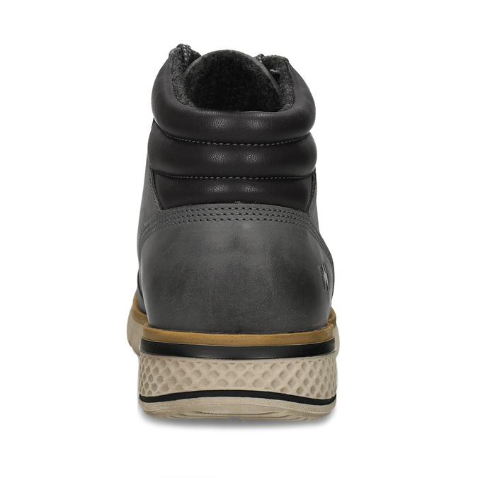 Šedá pánská kožená kotníková obuv na zimu weinbrenner, šedá, 896-2649 - 15