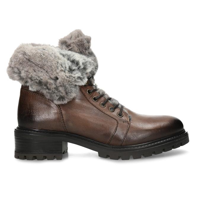 Hnědá kožená dámská kotníková obuv s kožíškem bata, hnědá, 594-4632 - 19