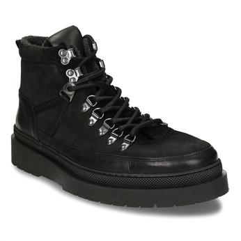 Černá pánská kožená kotníková obuv na vyšší podešvi bata, černá, 896-6610 - 13