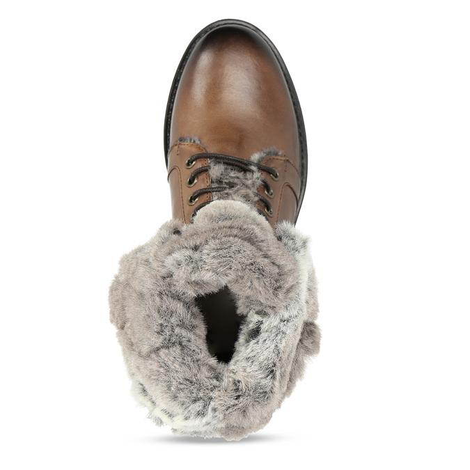 Hnědá kožená dámská kotníková obuv s kožíškem bata, hnědá, 594-4632 - 17