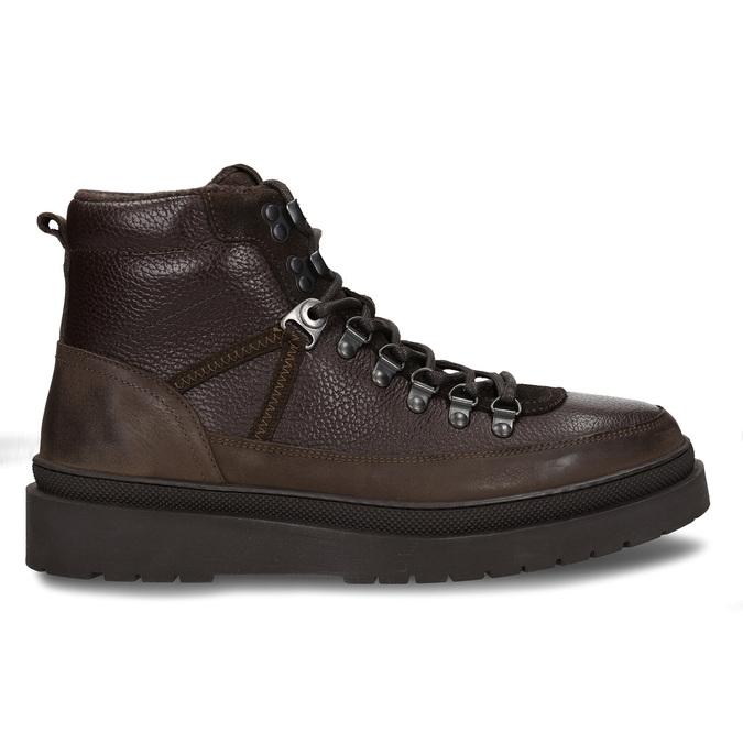 Hnědá pánská kožená kotníková obuv na vyšší podešvi bata, hnědá, 896-7610 - 19