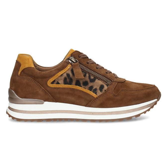 Hnědé dámské kožené tenisky s leopardím vzorem gabor, hnědá, 526-3111 - 19