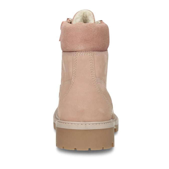 Světle růžová kožená dívčí kotníková obuv weinbrenner, růžová, 426-5614 - 15