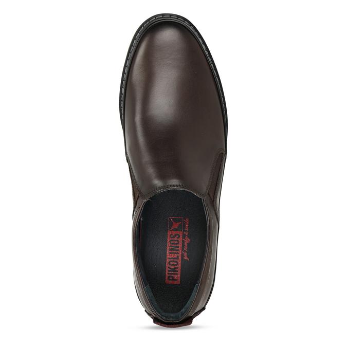 Pánská kožená slip-on obuv hnědá pikolinos, hnědá, 836-4602 - 17