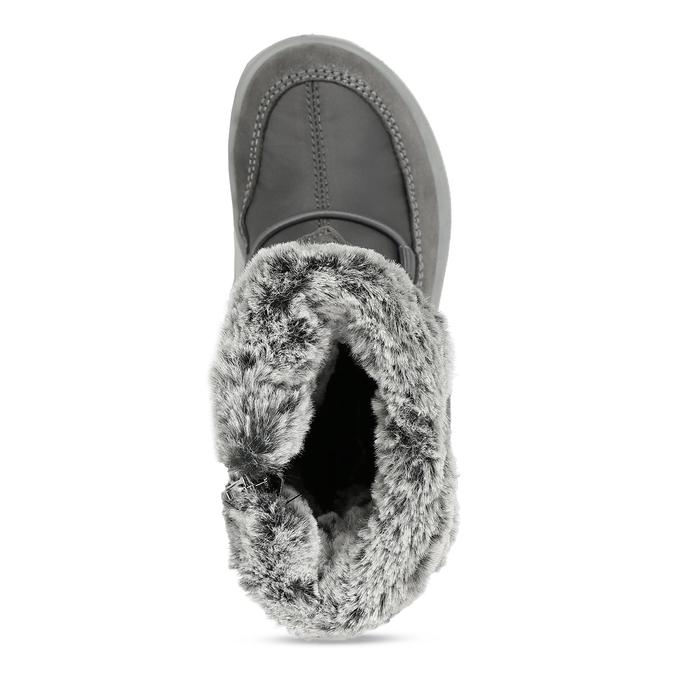 Šedé dívčí kožené sněhule s kožíškem primigi, šedá, 329-2620 - 17