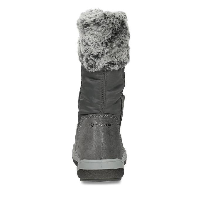 Šedé dívčí kožené sněhule s kožíškem primigi, šedá, 329-2620 - 15