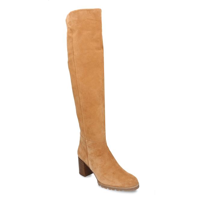 Béžové dámské kožené kozačky nad kolena hogl, žlutá, 693-8605 - 13