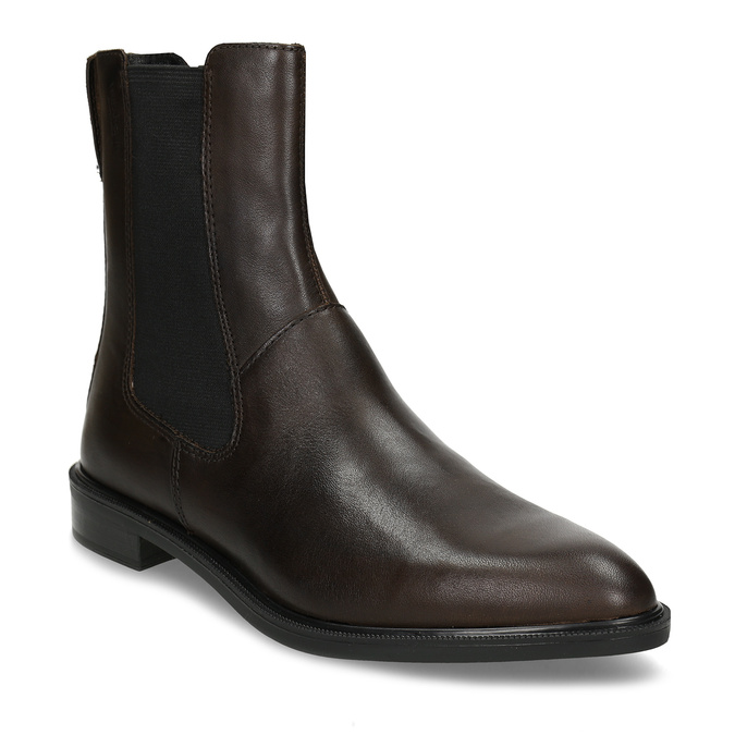 Tmavě hnědá dámská Chelsea obuv kožená vagabond, hnědá, 594-4629 - 13