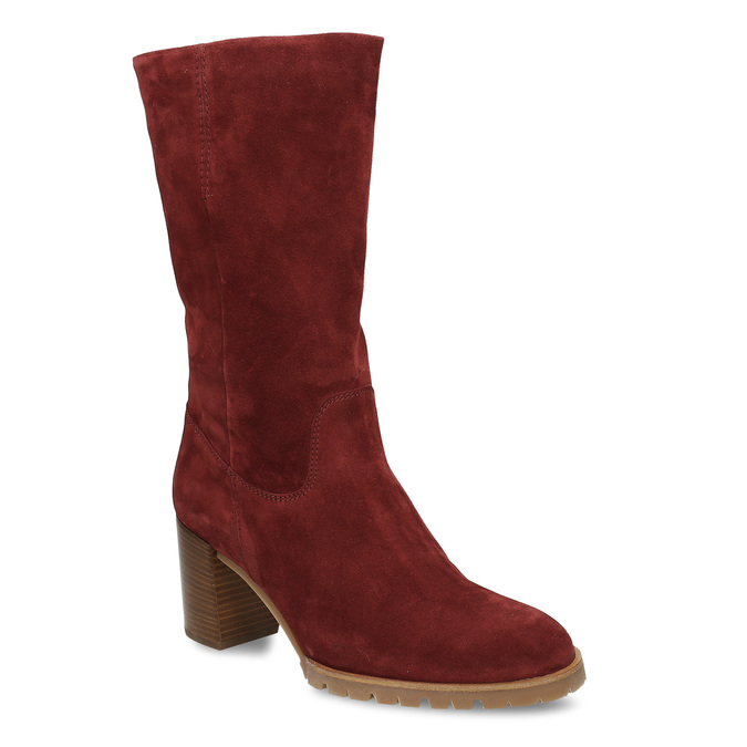 Červené dámské kožené kozačky na podpatku hogl, červená, 693-5601 - 13