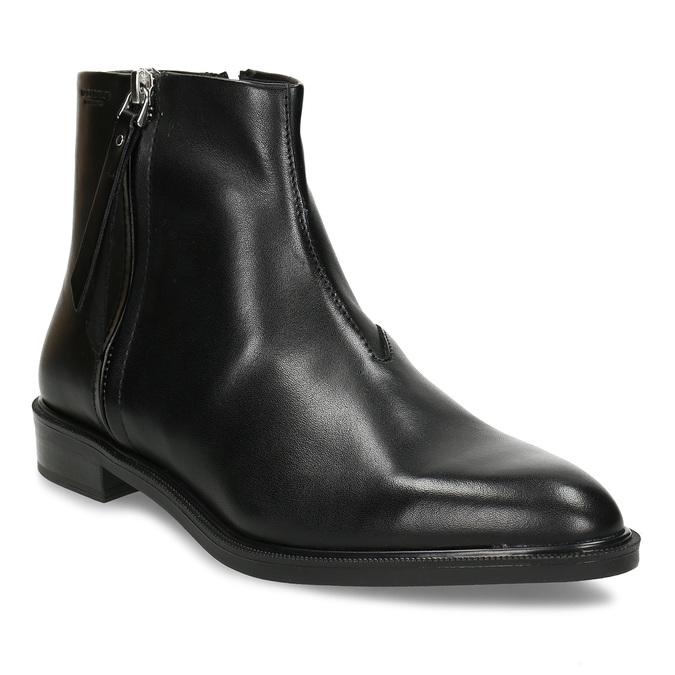 Kožená dámská kotníková obuv na zip vagabond, černá, 594-6703 - 13
