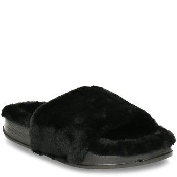 Chlupaté dámské černé pantofle north-star, černá, 579-6610 - 13