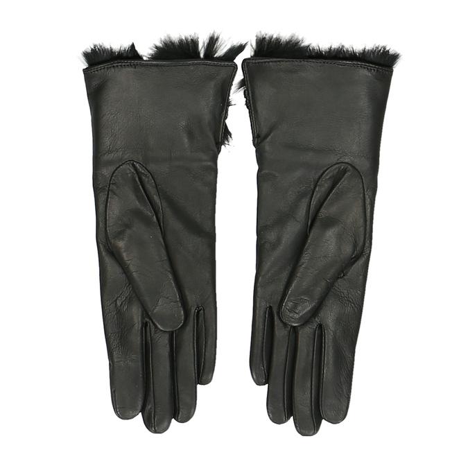 Černé dámské rukavice s huňatou podšívkou junek, černá, 944-6152 - 16