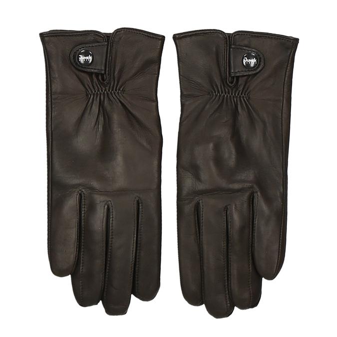 Hnědé pánské kožené rukavice s řasením a drukem junek, hnědá, 944-4112 - 26