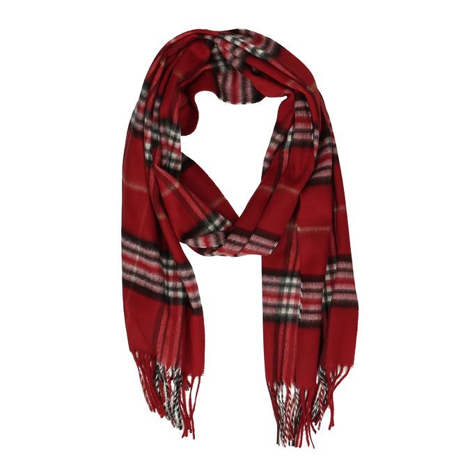 Červený károvaný set – šála a kožené rukavice junek, červená, 949-5106 - 19