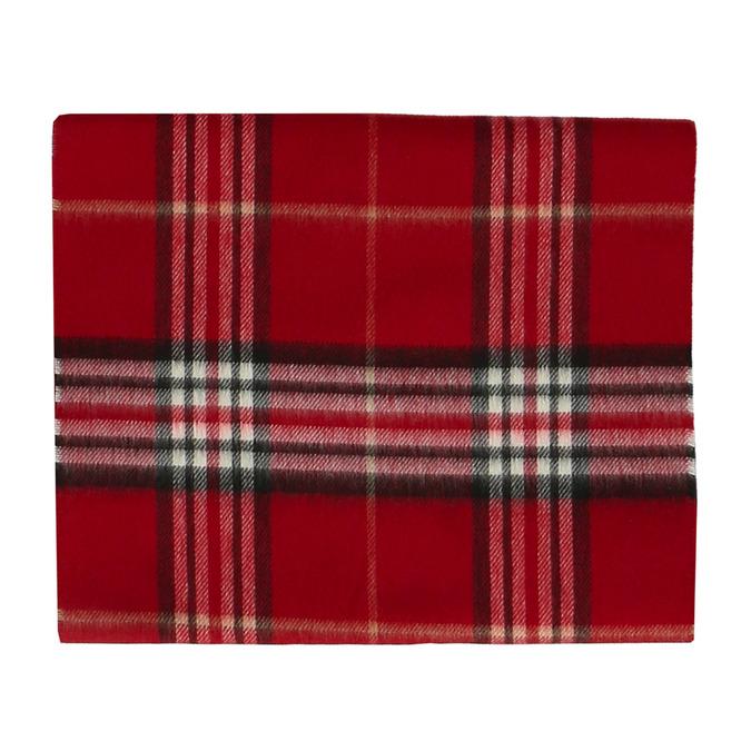 Červený károvaný set – šála a kožené rukavice junek, červená, 949-5106 - 17