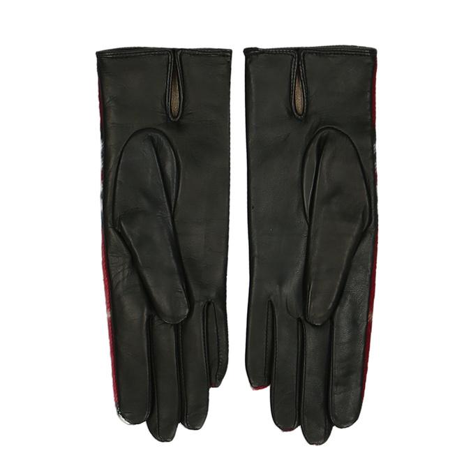 Červený károvaný set – šála a kožené rukavice junek, červená, 949-5106 - 15